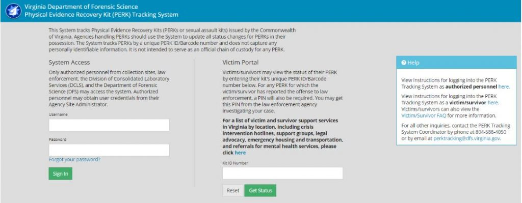Perk Tracking System Virginia Department Of Forensic Science